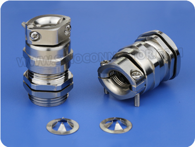EMC Metal Cable Gland with Strain Relief Clamp (Long PG Thread)