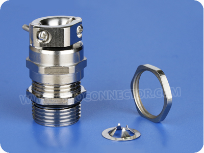 EMC Metal Cable Glands with Pull Relief Clamp (Long Metric Thread)